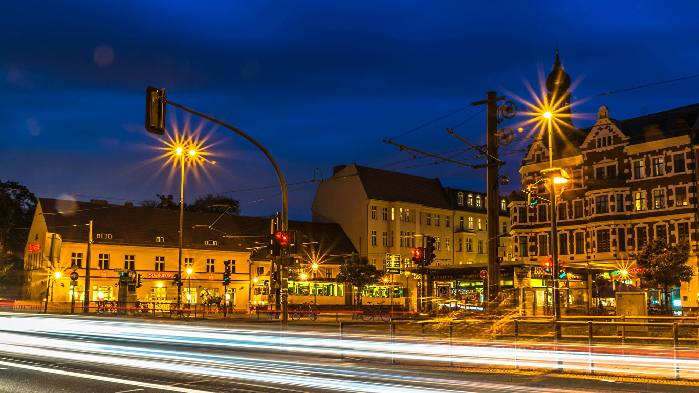 Обои дома, улица, фонари, движение, ночь. Города foto 16
