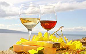 Фото Напитки Вино Сыры Виноград Бокалы Продукты питания
