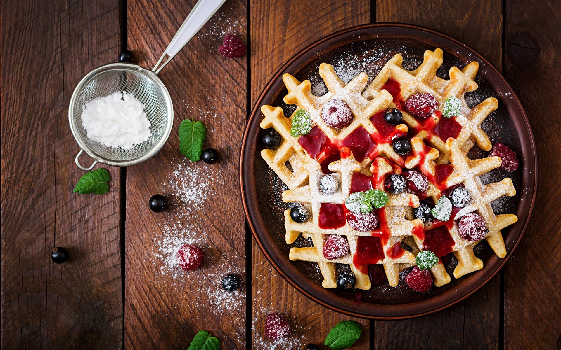 Картинки вафля Варенье Сахарная пудра Вишня Продукты питания Доски 1920x1200 Вафли джем Повидло Черешня Еда Пища