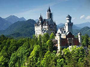 Обои Германия Замки Горы Нойшванштайн Дерево город