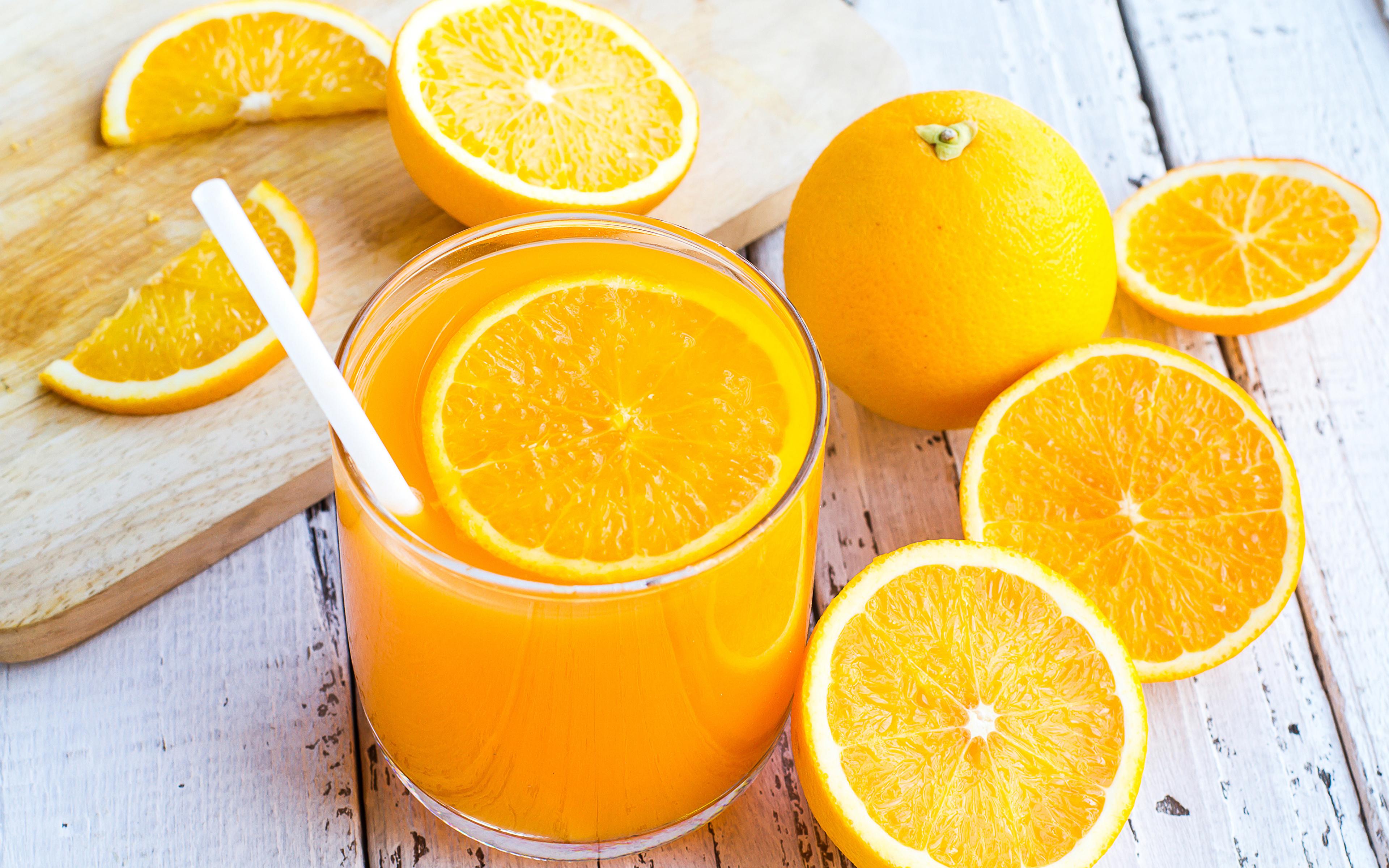 Фотография Сок Апельсин стакана Пища 3840x2400 Стакан стакане Еда Продукты питания