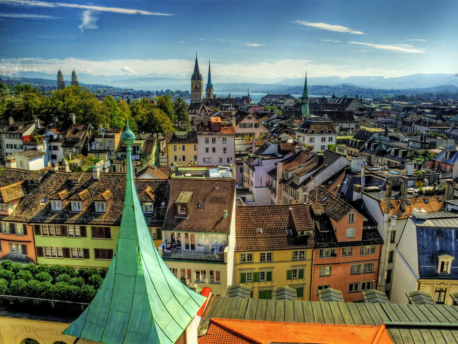 Обои швейцария, Switzerland, здания, крыши, Цюрих, дома. Города foto 8