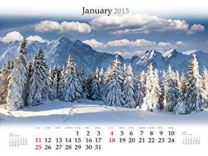 Фото Зима Гора Календарь Ели Снеге Облака
