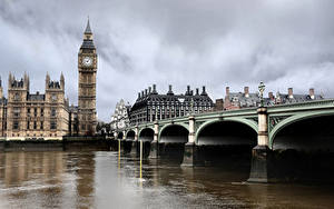 Картинка Великобритания Дома Реки Мосты Лондоне Биг-Бен
