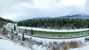 Фотография Канада Парки Сезон года Зимние Леса Реки Пейзаж Банф Снег Природа