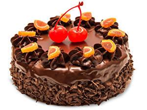Обои для рабочего стола Сладости Торты Шоколад Вишня Белом фоне Пища