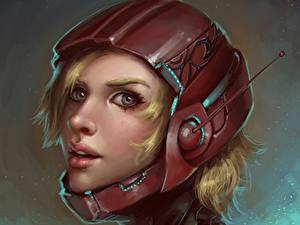 Фотографии Блондинки В шлеме Смотрит Фэнтези Девушки