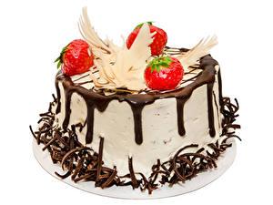 Фотография Сладкая еда Торты Шоколад Белом фоне Еда