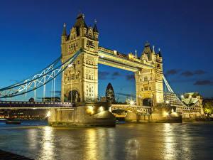 Фотографии Великобритания Река Мосты Лондоне Уличные фонари В ночи город