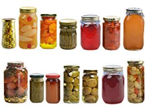 Фотографии Овощи Много Банке Пища
