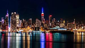 Фотографии Штаты Небоскребы Дома Реки Нью-Йорк Ночь город