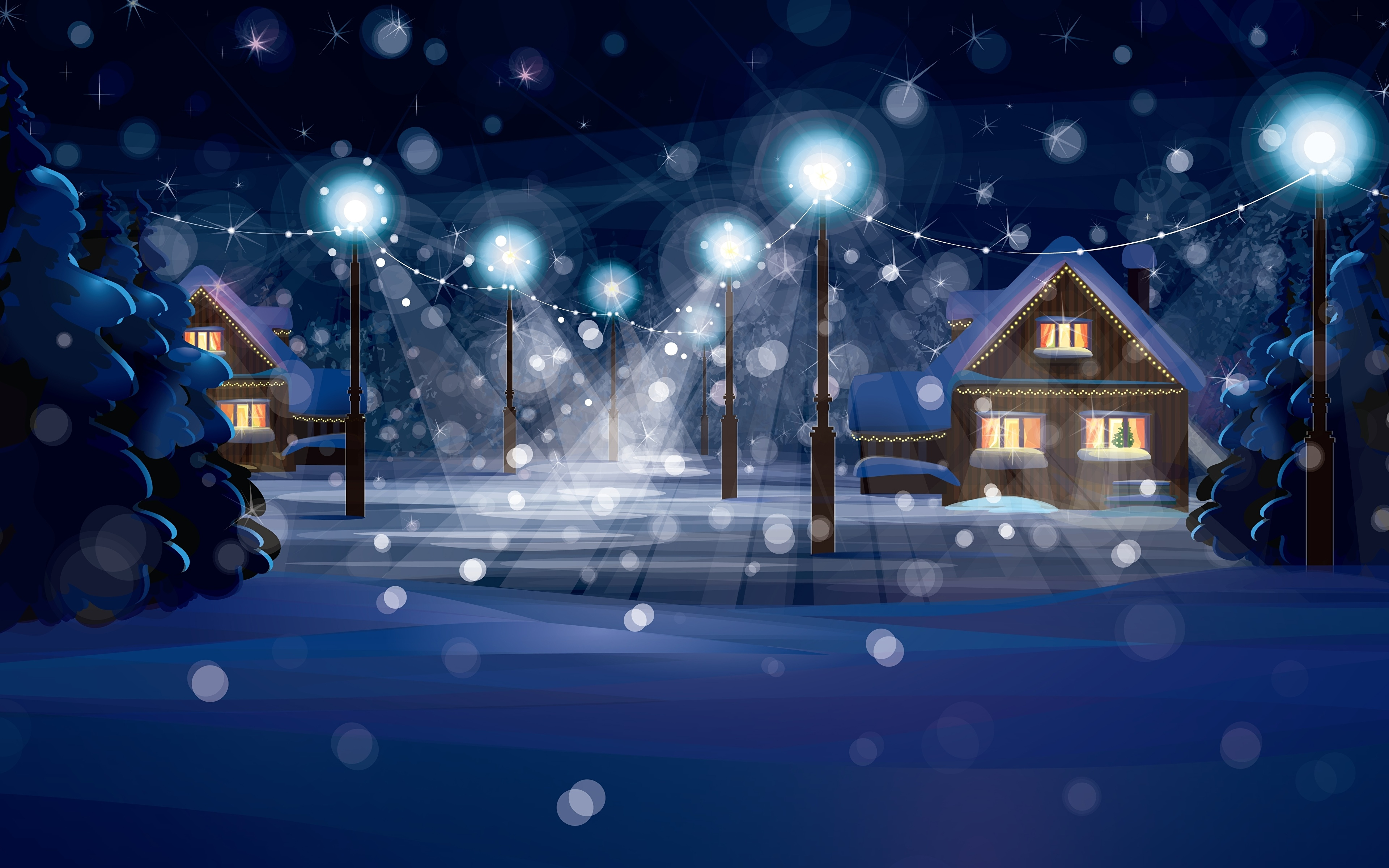 новый год домик огоньки поезд снег без смс
