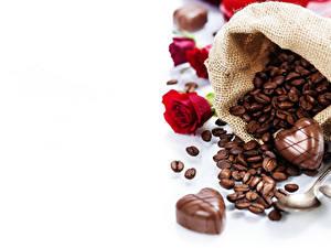 Картинки Кофе Конфеты Шоколад Роза Зерна Пища
