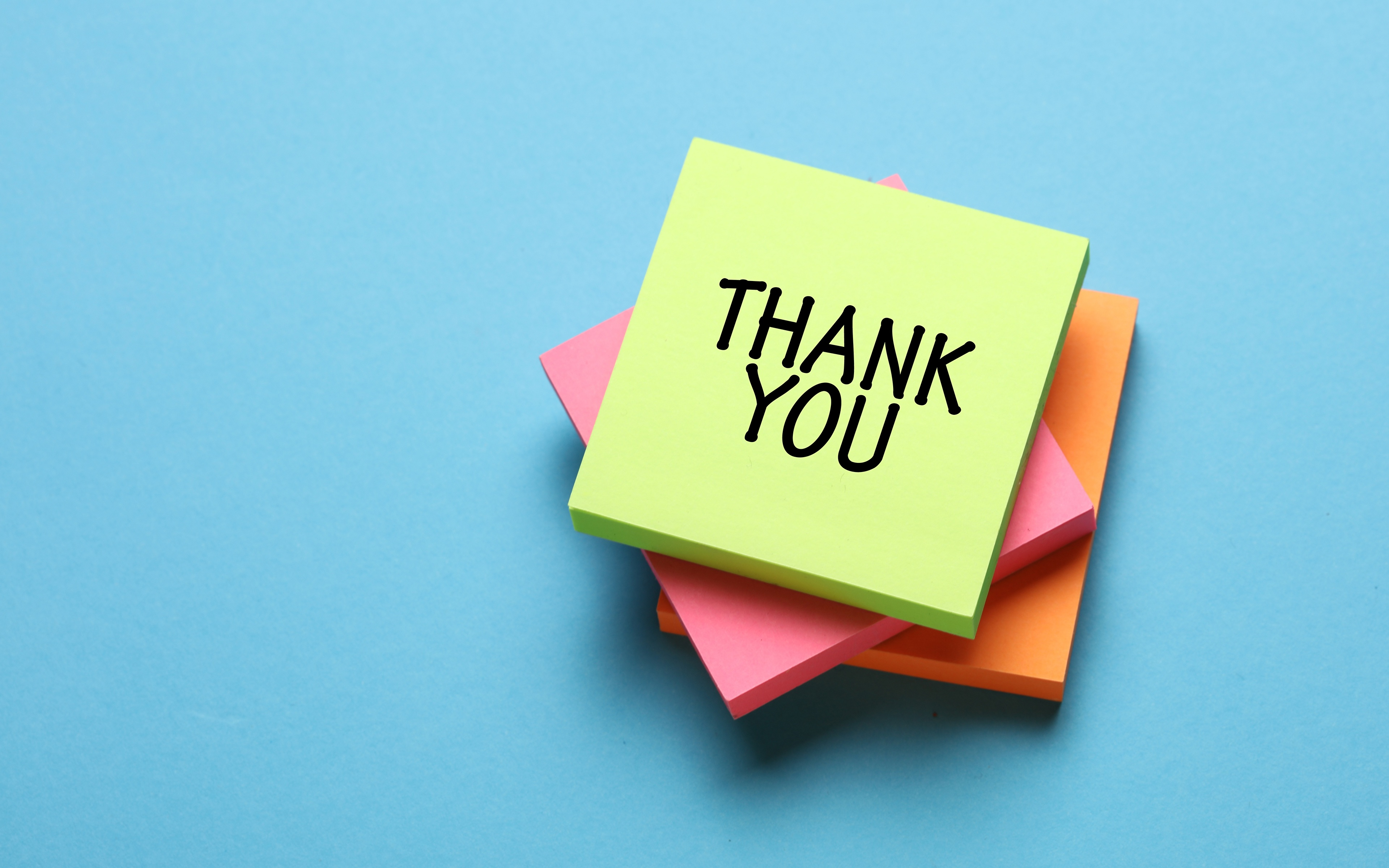 Фото Английский бумаге Thank YOU, Sticky notes слова Цветной фон 3840x2400 английская инглийские Бумага бумаги текст Слово - Надпись