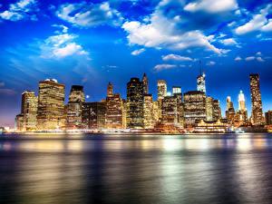 Обои Штаты Небоскребы Речка Небо Нью-Йорк Brooklyn Bridge Park город