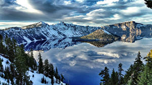 Обои США Парки Горы Озеро Зима Crater Lake National Park Природа