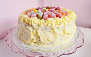 Фотографии Сладкая еда Торты Цветной фон Еда