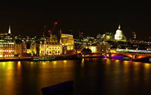 Фотографии Великобритания Река Здания Лондоне Ночные город