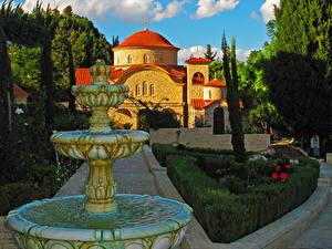 Обои Греция Храмы Фонтаны Парки Монастырь Limassol Agios Georgios Alamanos Города
