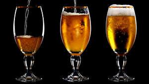 Картинка Напитки Пиво Трое 3 Стакана Продукты питания