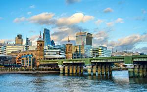 Фотография Великобритания Дома Река Мосты Лондоне Города