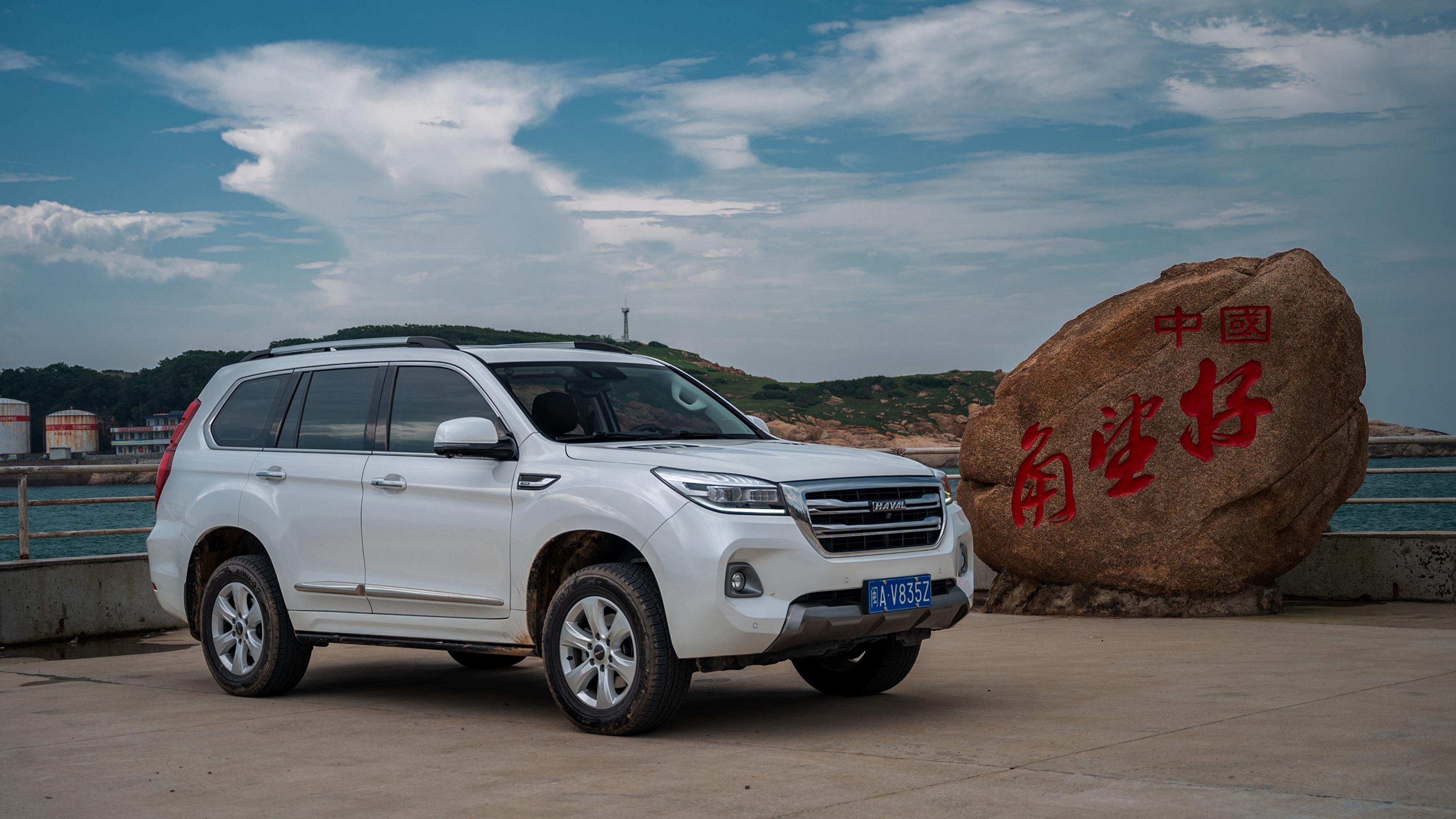 Картинки Haval китайский CUV H9, 2019 Белый Металлик автомобиль 3840x2160 Китайские китайская Кроссовер белая белые белых авто машины машина Автомобили