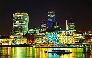 Фото Великобритания Дома Речка Лондон Ночь