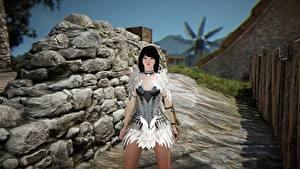 Обои Black Desert Камни Платье Игры Девушки 3D_Графика