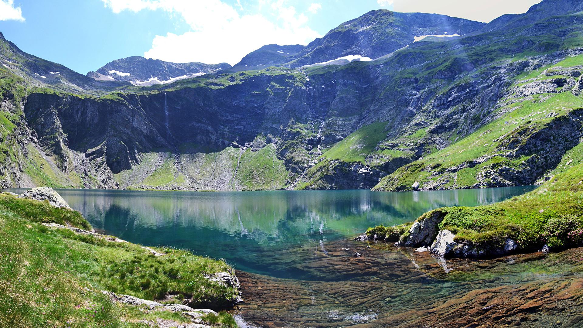 Картинка альп Италия Val Gardena гора Природа Озеро мха 1920x1080 Альпы Горы Мох мхом