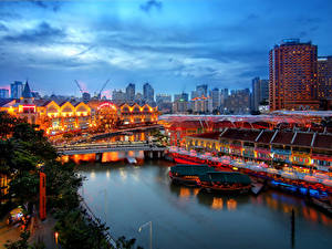 Фотография Сингапур Здания Реки Мосты Ночные город