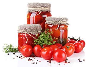 Обои для рабочего стола Овощи Томаты Укроп Специи Банке Красный Пища