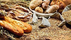 Обои Хлеб Выпечка Пшеница Зерна Колоски Пища