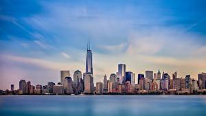Картинки Небо Небоскребы Здания Море Штаты Нью-Йорк Города