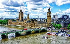 Фотография Небо Речка Дома Биг-Бен Лондоне HDR Облака