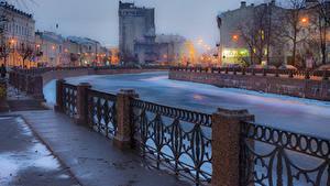 Картинка Санкт-Петербург Реки Россия Дома Водный канал Забор Города