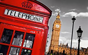 Фотографии Англия Телефона Биг-Бен Лондоне Уличные фонари