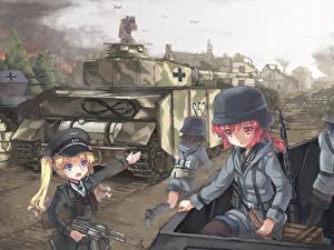 Фото Солдаты Танк Рисованные Шлем north abyssor Pz. IV Аниме Девушки Армия