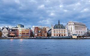 Картинки Великобритания Дома Река Небо Лондоне