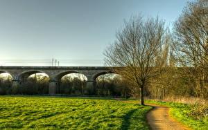 Фото Мосты Англия Трава HDRI Лондоне Hanwell Природа