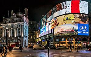 Обои Великобритания Здания Лондоне Улица Ночью Уличные фонари Реклама Piccadilly Circus, neon signage