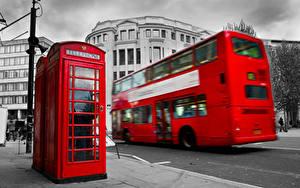 Обои Англия Автобус Лондоне Телефоном Улиц Красных Города