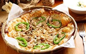 Картинка Перец Пицца Грибы Крупным планом Выпечка Еда