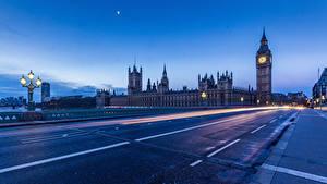 Картинки Дороги Лондон Биг-Бен Ночь Уличные фонари Асфальт Города
