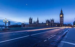 Картинки Дороги Лондоне Биг-Бен Ночь Уличные фонари Асфальт город