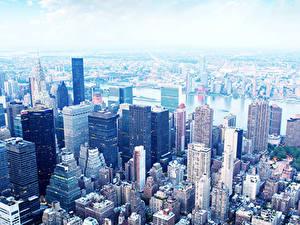 Фото Америка Небоскребы Дома Нью-Йорк Мегаполис Манхэттен город