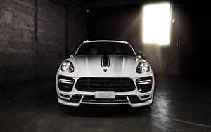 Картинки Porsche Белых Спереди Фары 2014 TechArt Macan 95B авто