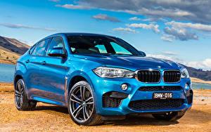 Картинка Небо BMW Спереди Голубая Фар 2015 X6 M AU-spec F16 машина