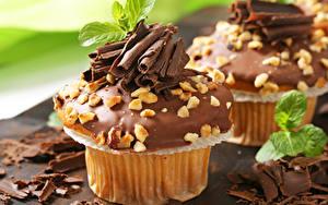 Обои Шоколад Пирожное Выпечка Орехи Вблизи Сладости Капкейк кекс Пища