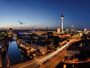 Фотография Германия Берлин Небо Дома Мосты Ночь Водный канал Города