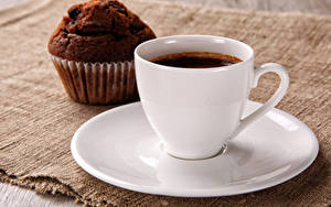 Фотографии Выпечка Кофе Напиток Вблизи Маффин Чашке Блюдце Еда